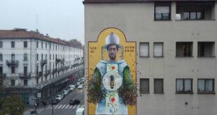 A Milano il grande murale del palermitano Igor Scalisi Palminteri dedicato a Sant'Ambrogio